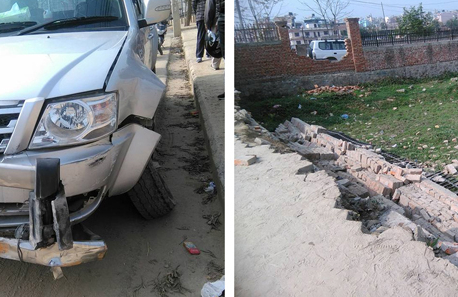 Compound wall caves in after being hit by govt vehicle