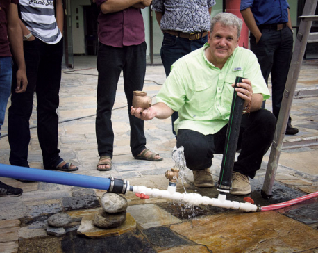 Demonstration on pumping water with the help of gravity