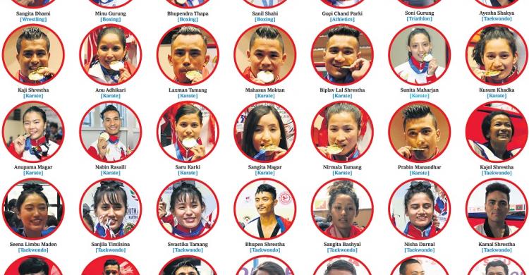 Nepal's gold medalists at 13th SAG