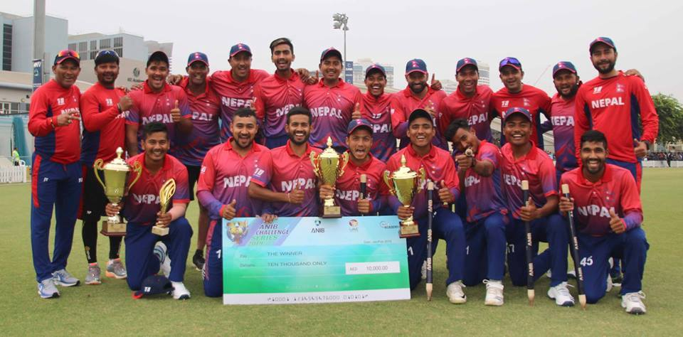 Nepali cricket team comes home with its first trophy