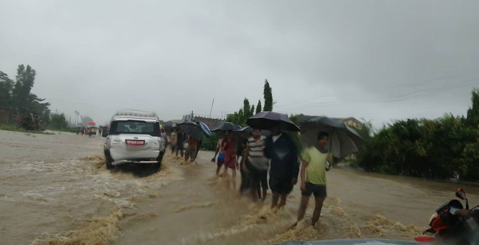 Flash flood inundates Siraha  (with video and photos)