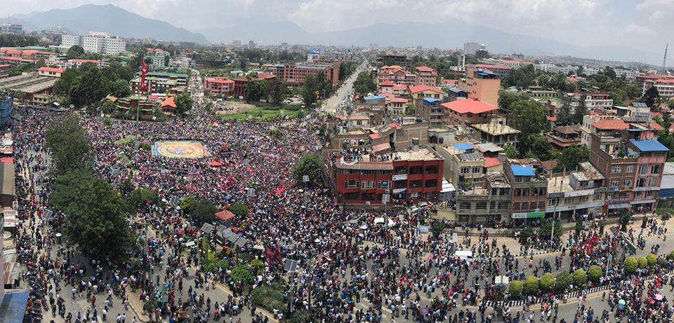Thousands throng Maitighar to demand ditching of Guthi Bill