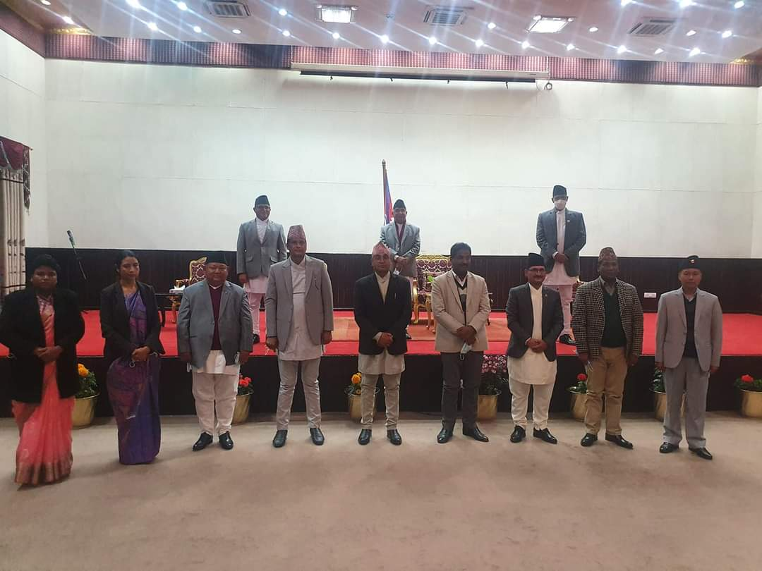 President Bhandari administers oath of office and secrecy to newly-appointed ministers