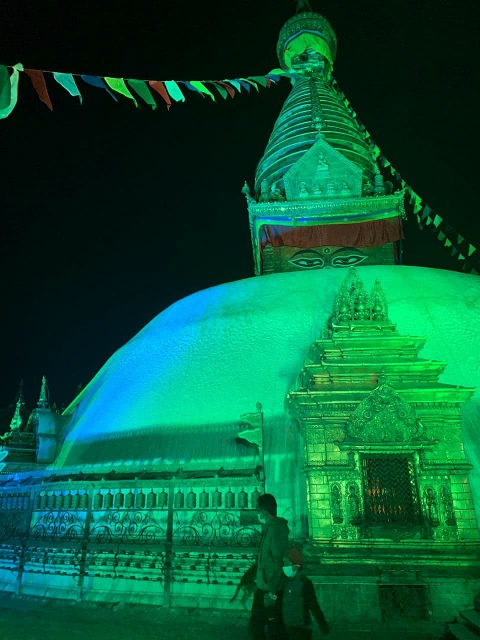 Swayambhunath Temple lighted up in teal color to raise awareness about cervical cancer