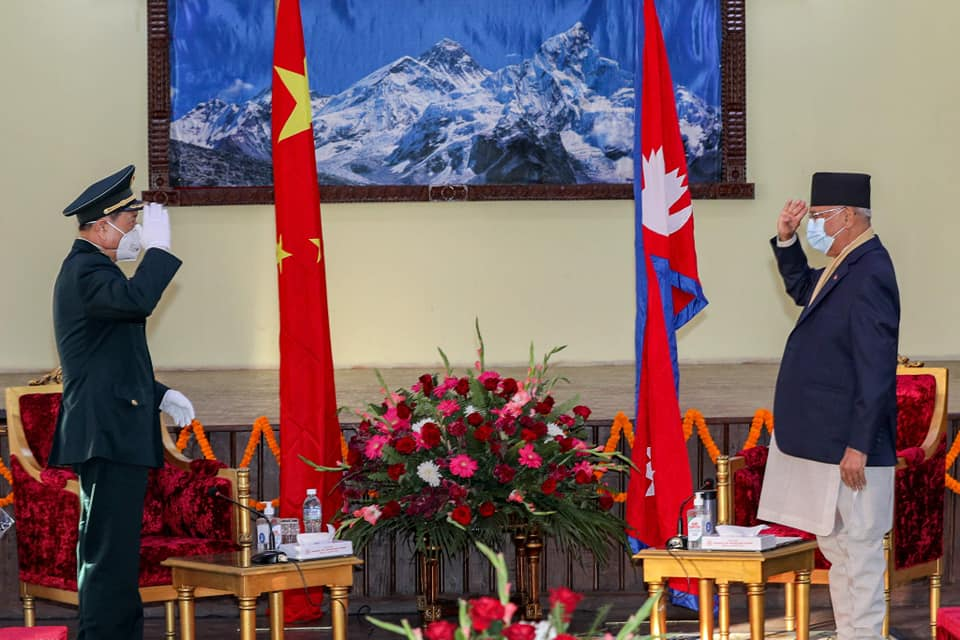 Visiting Chinese Defense Minister calls on PM Oli
