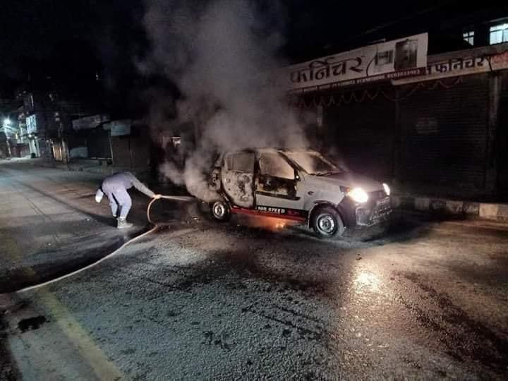Govt to compensate owner of taxi which was allegedly torched by cadres belonging to Dahal-Nepal faction