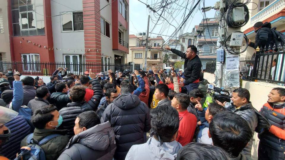 Dahal-Nepal faction protesting outside Jhakri's residence as police prepare to arrest her