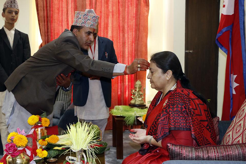 Dignitaries receive Dashain tika and jamara (Photo Feature)