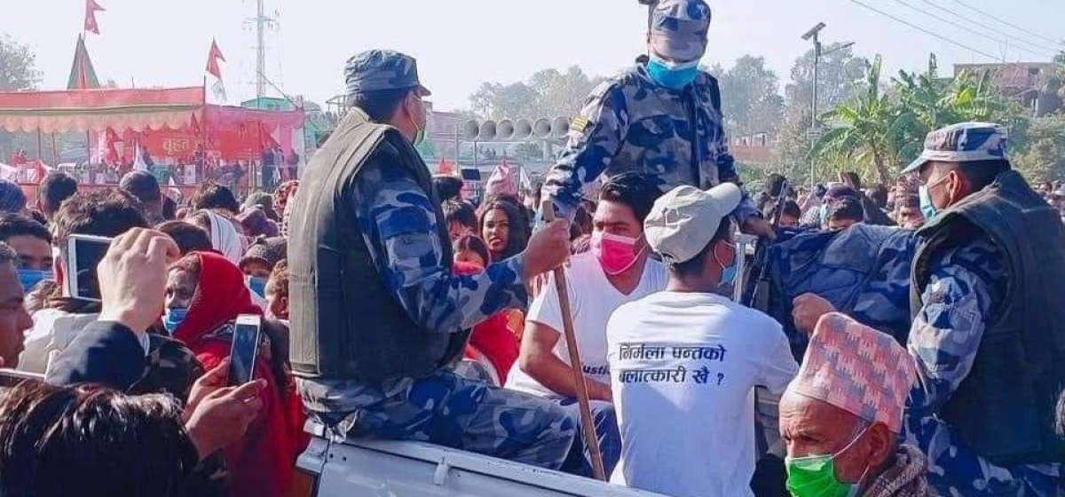 """Youths wearing """"Where is the rapist of Nirmala Pant?""""tagged t-shirts arrested from PM Oli's program in Dhangadi"""