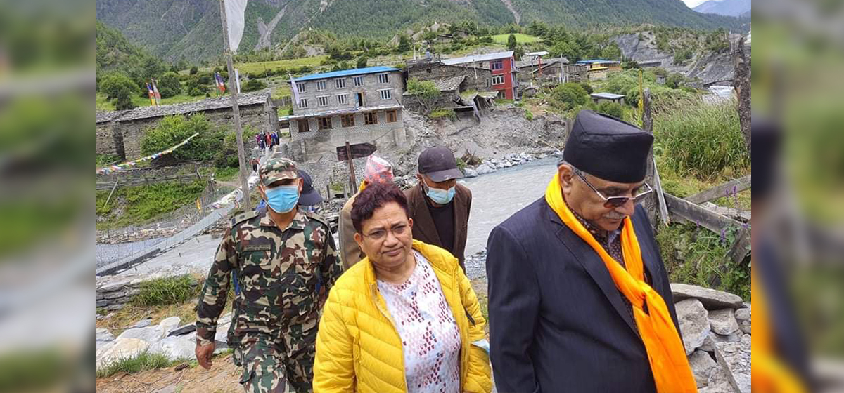 Team comprising former PM Dahal, Energy Minister Bhusal reaches Manang