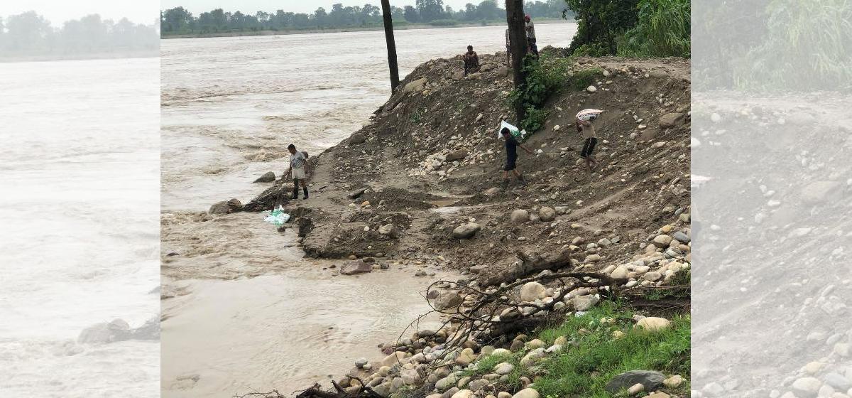 High risk of Karnali River entering village