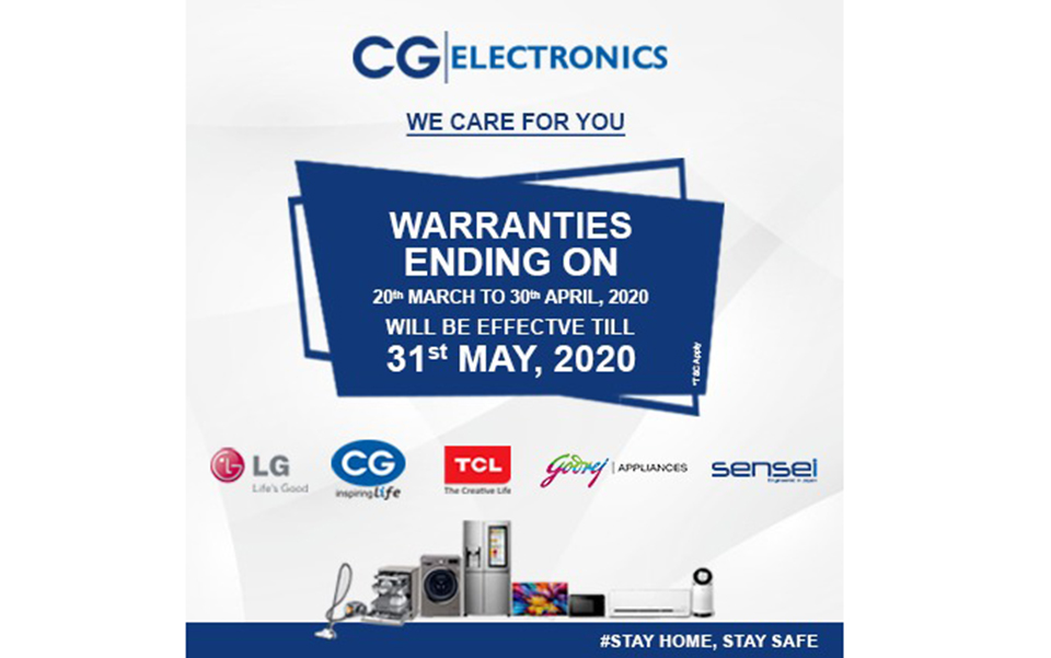 CG group extends warranty periods of electronic products and home appliances