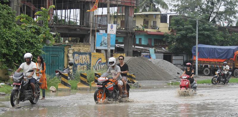 Waterlogged Biratnagar roads