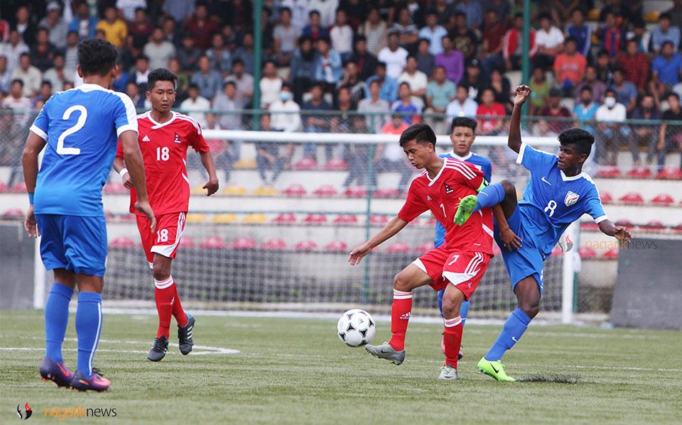 SAFF U-15:  Nepal into semi-final despite loss to India 1-2 (photo feature)