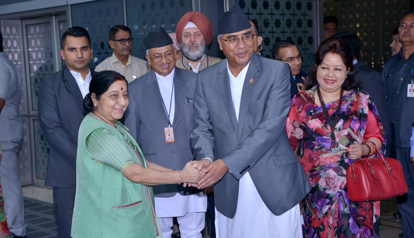 External Affairs Minister Swaraj welcomes PM Deuba in India