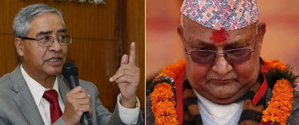 Oli feels insulted as Deuba says 'Hello Mister' to him