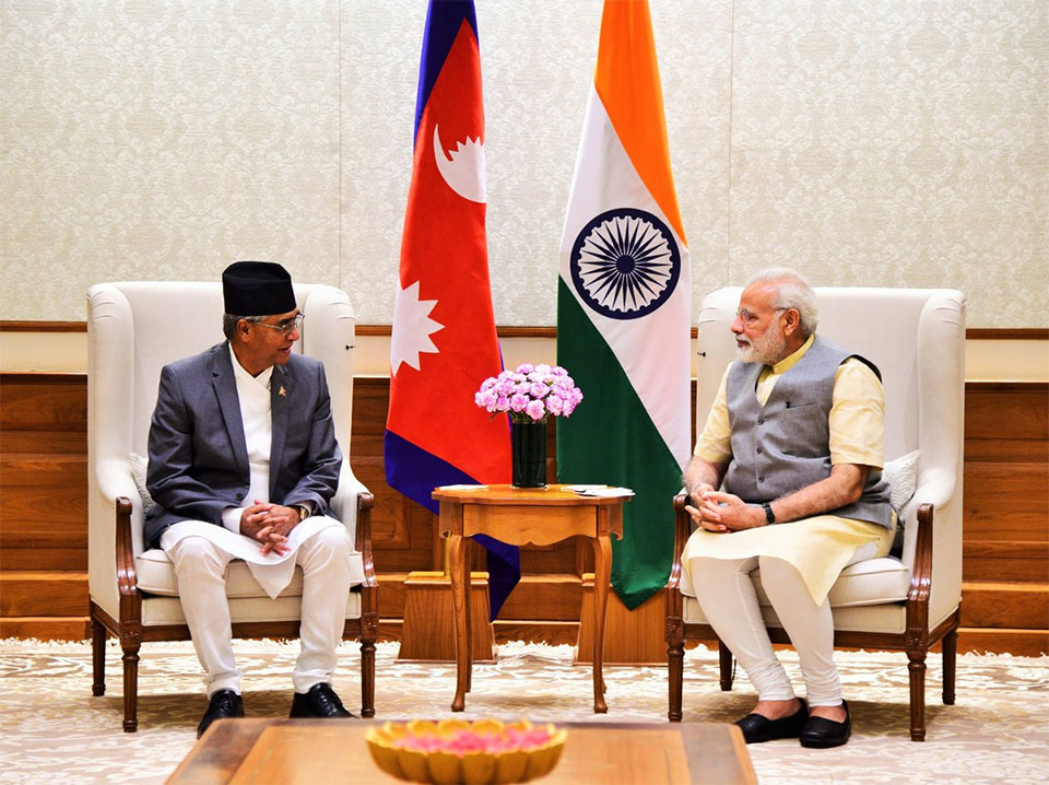 Indian PM Modi welcomes PM Deuba