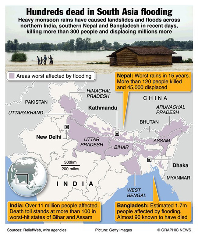 Infographics: Hundreds dead in South Asia flooding
