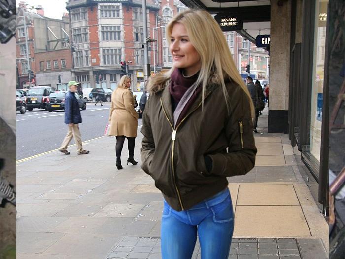 When model strolled down London street in spray-painted jeans…
