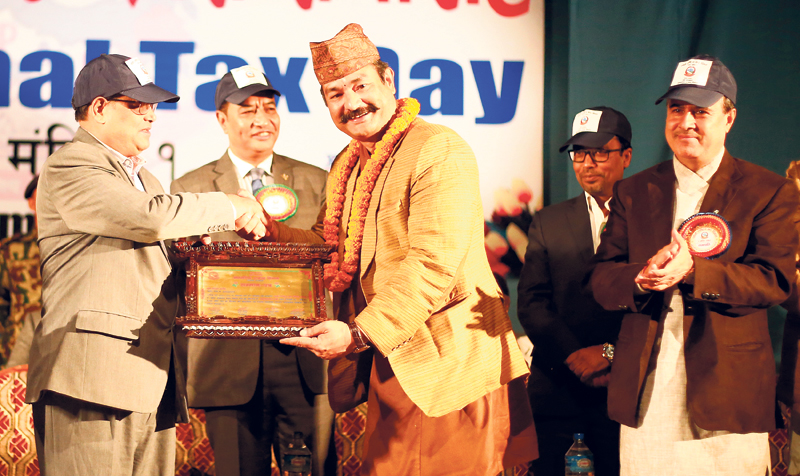 Surya Nepal honored as largest taxpayer