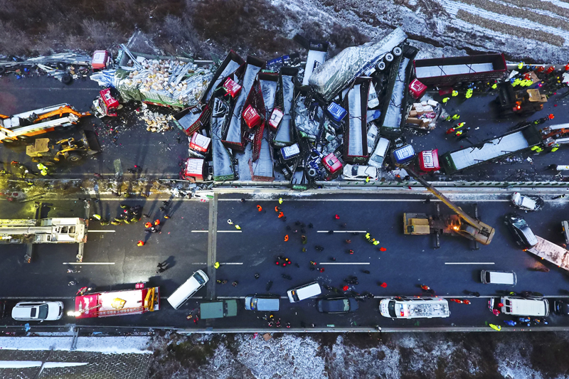 Vehicle pile-up in China leaves 17 people dead, 37 injured