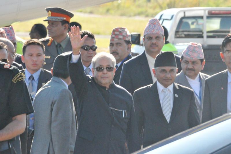Indian President Mukherjee arrives in Pokhara