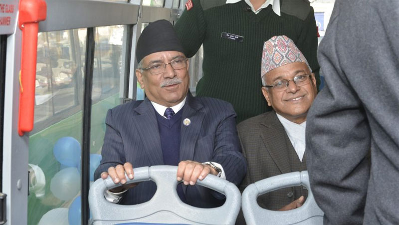 PM boards Sajha bus to his office (photo feature)