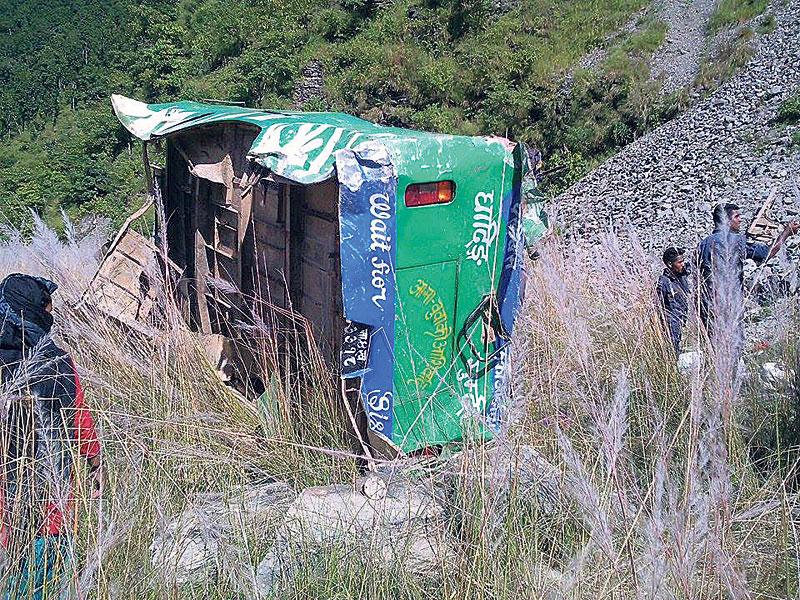 19 perish in Dhading bus accident