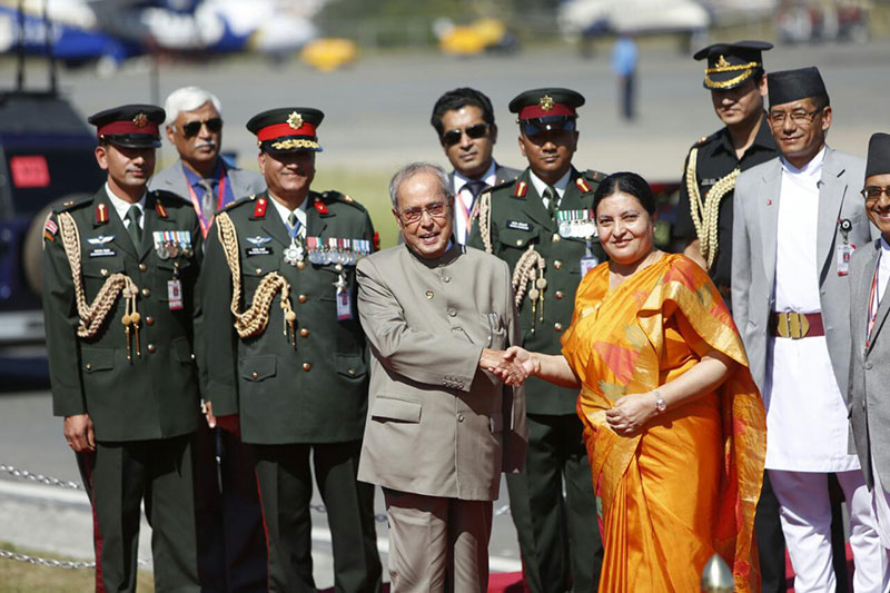 Prez Bhandari receives her Indian counterpart at TIA (photo feature)