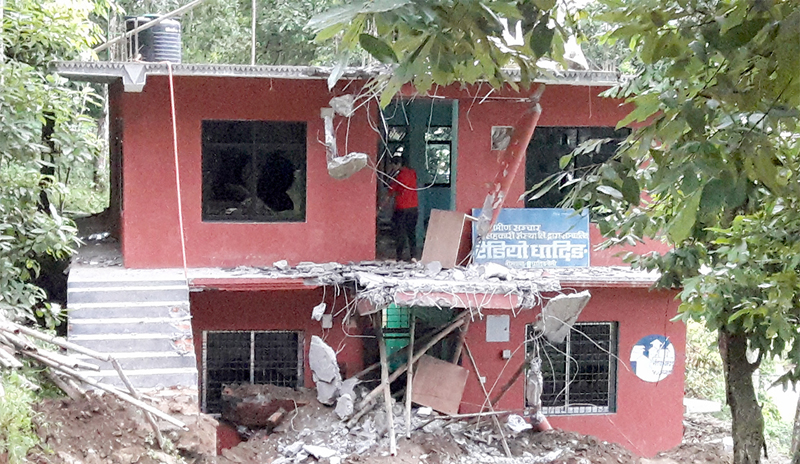DFO demolishes Radio Dhading's office building