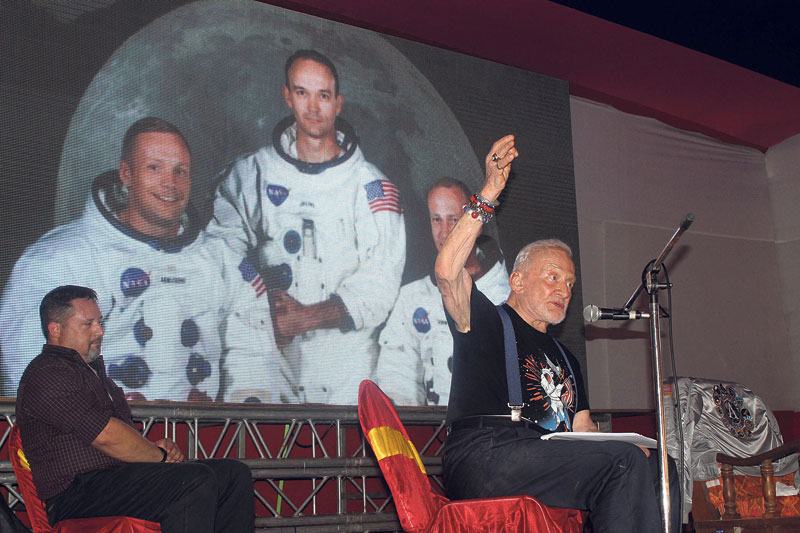 Moon astronaut Aldrin encourages students in Biratnagar