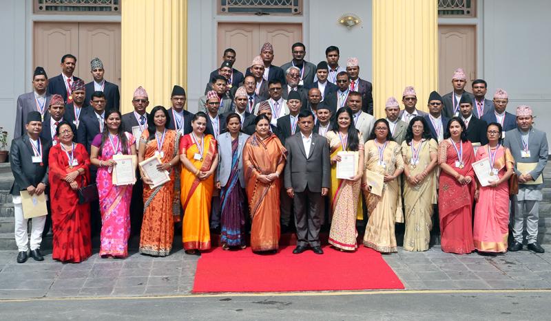 President presents Nepal Bidhya Bhusan Padak
