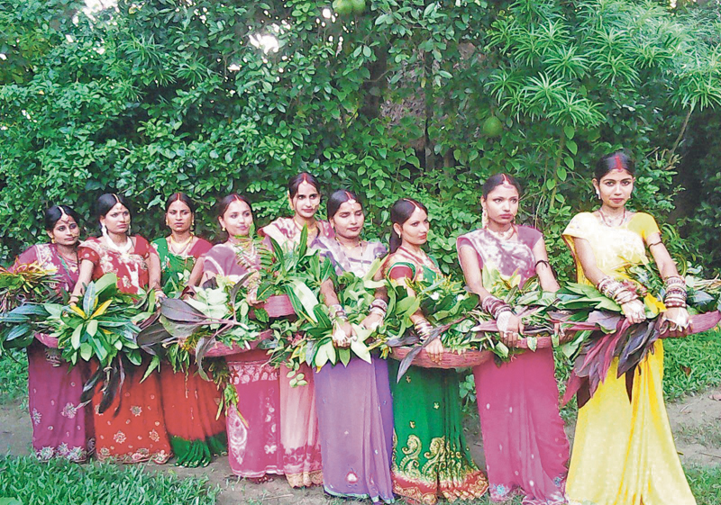 Women in Mithila celebrating Madhushravani