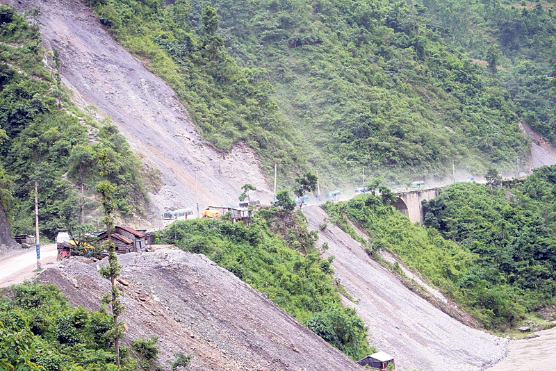 Narayangadh-Muglin road widening drive fails to take momentum