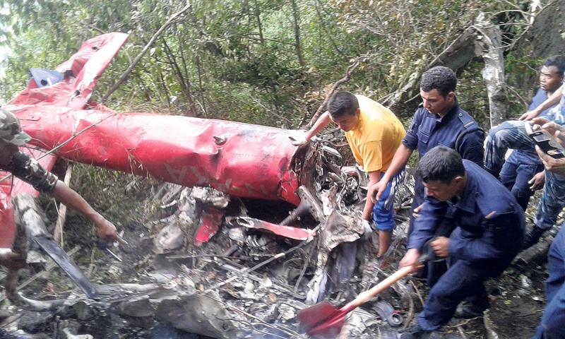 7 including pilot, newborn die in Nuwakot chopper crash