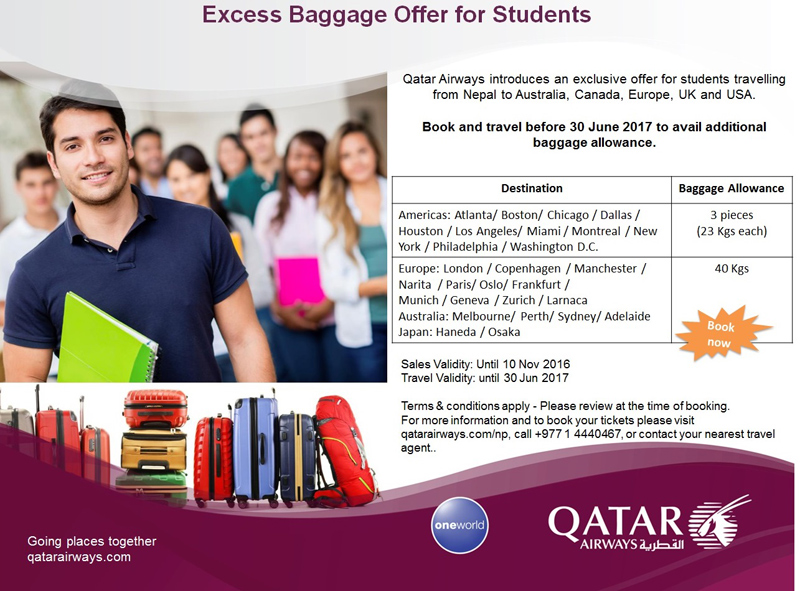Qatar Airways announces excess baggage offer for students