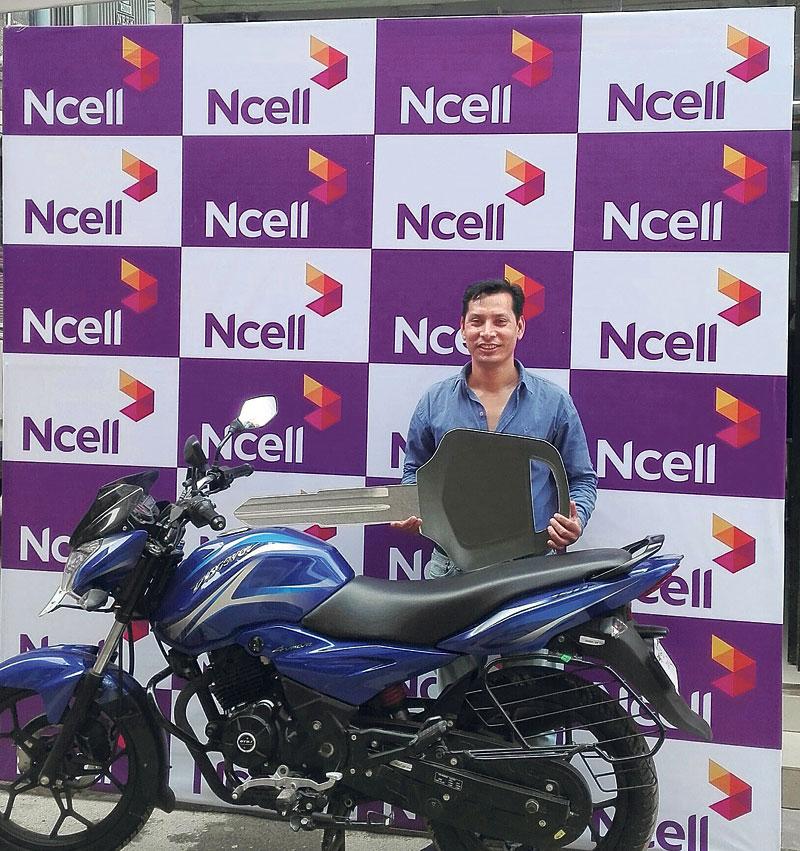 Prem Krishna Shrestha wins bike in Ncell's loyalty project
