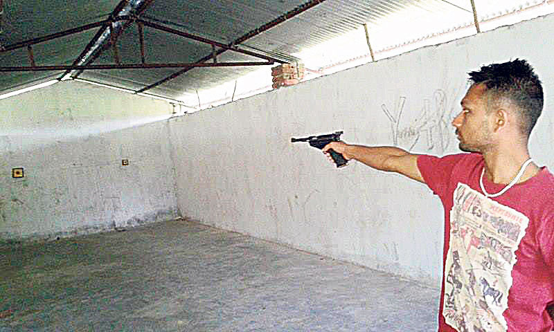 Shooters train with broken pistol and rusted gun in Tikapur