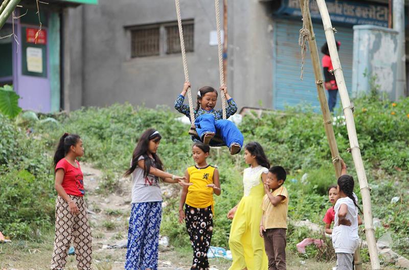 The joy of swinging during Dashain