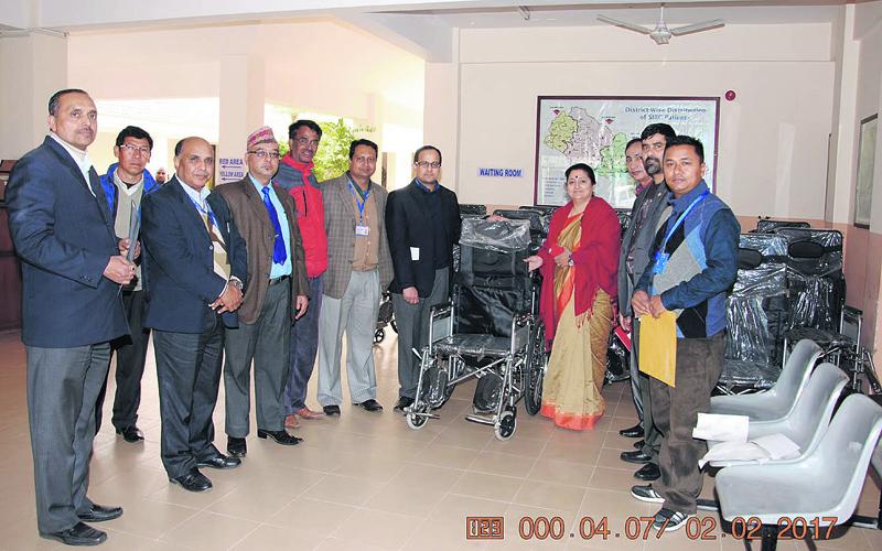 Nepal Telecom provides various materials to hospitals