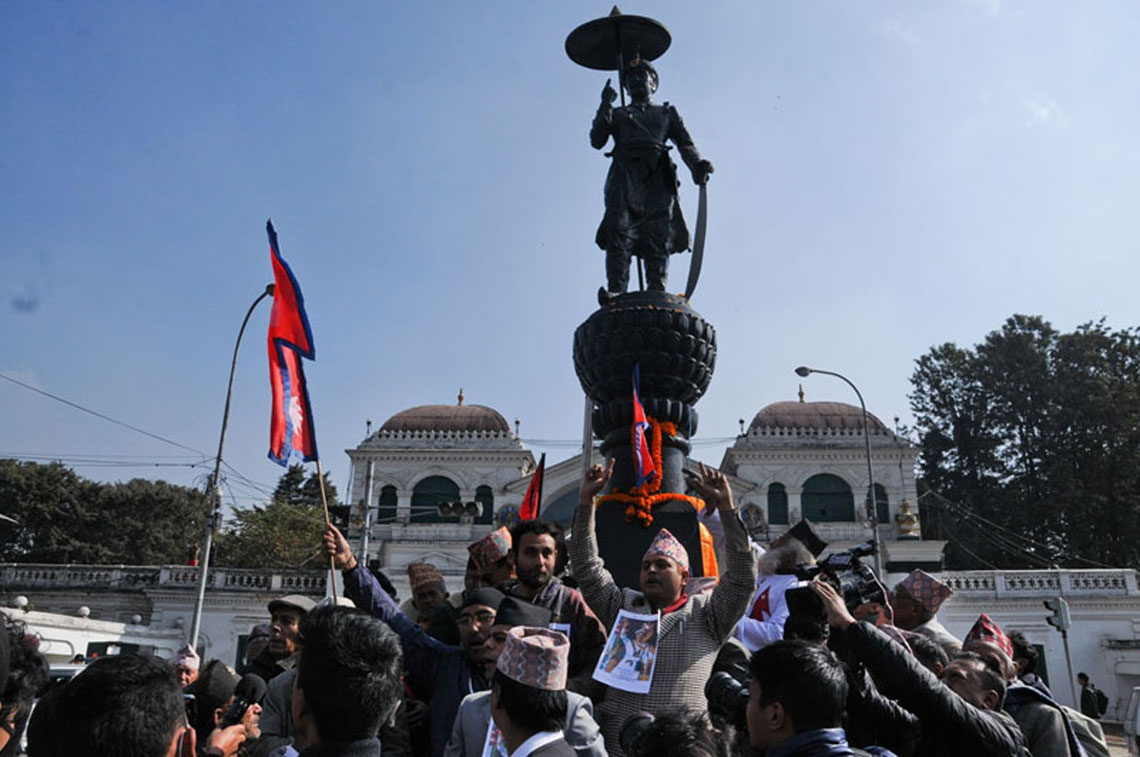 108 meters long garland offered to the statue of late King PN Shah (photo feature)