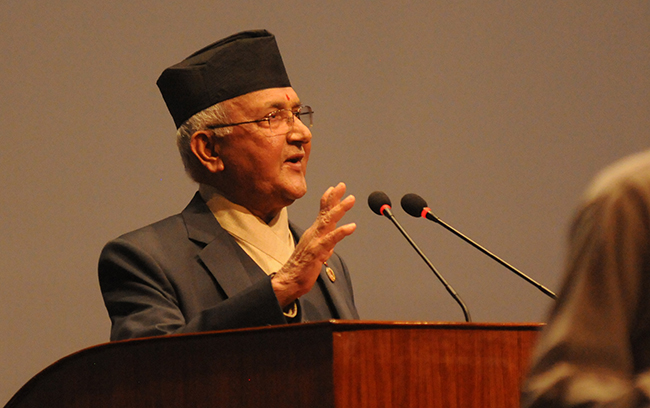 PM Oli addressing concerns raised by NC lawmakers in Parliament today