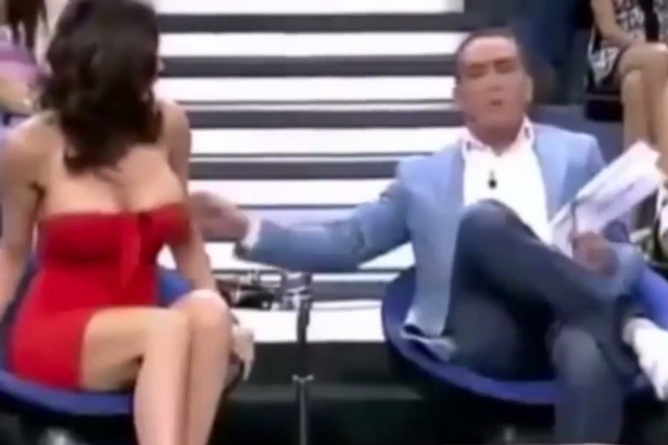 Spanish TV host exposes guest's breast on live show (video