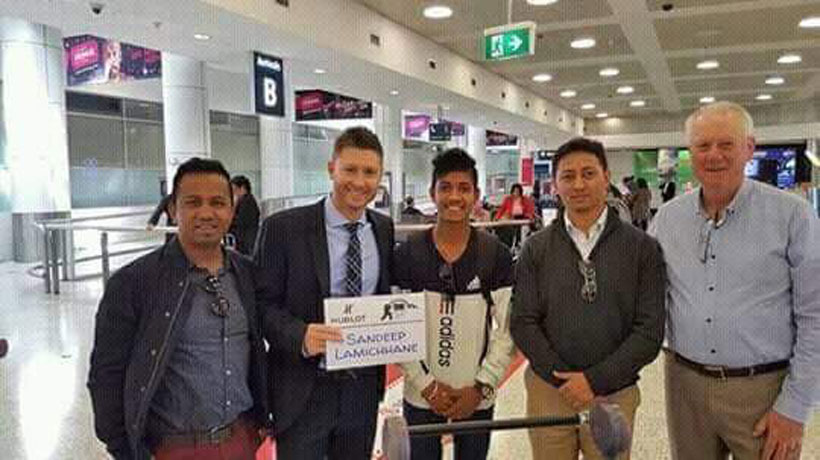 Michael Clark welcomes Sandeep at Sydney Airport (video)