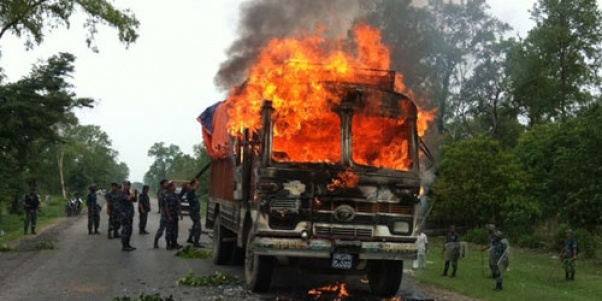 Band enforcers torch truck in Dhangadi