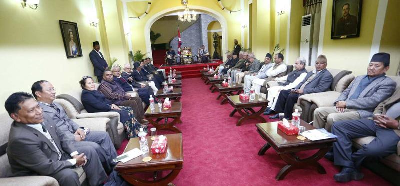 All-party meeting begins at Sheetal Niwas
