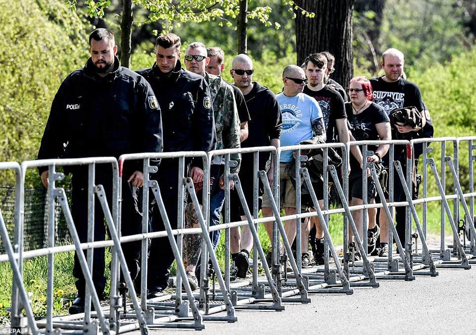 Hundreds of neo-Nazis mass for festival to mark Hitler's birthday