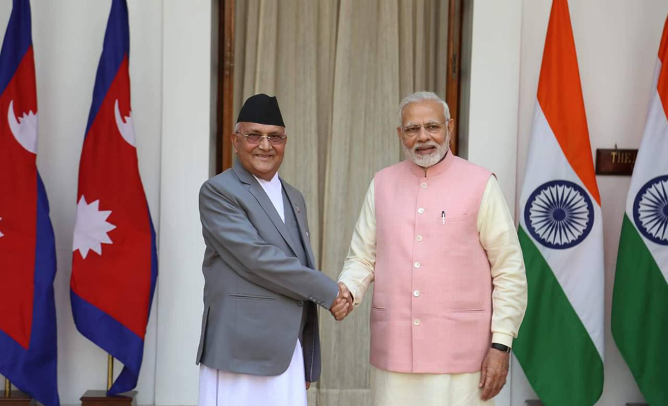 PM Oli, Modi meet at Hyderabad House