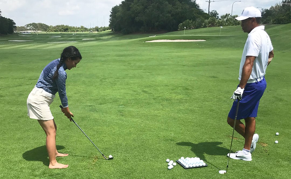 Nepali teen Pratima Sherpa gets private lesson from Tiger Woods