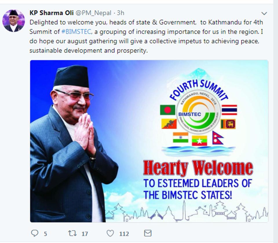 PM Oli welcomes visiting BIMSTEC member countries' dignitaries on twitter